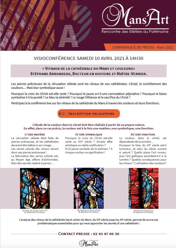 """L'association Mans'Art - visioconférence """"Vitraux de la cathédrale du Mans et couleurs"""""""