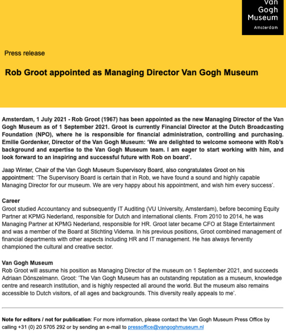 Rob Groot appointed as Managing Director of the Van Gogh Museum