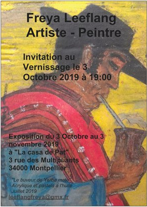 """L'exposition de peinture """"Portraits"""" Freya Leeflang - La casa de Pat - Montpellier"""