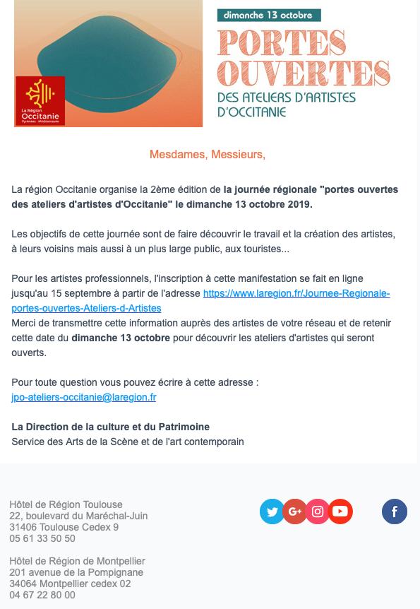 Journée portes ouvertes des ateliers d'artiste d'Occitanie