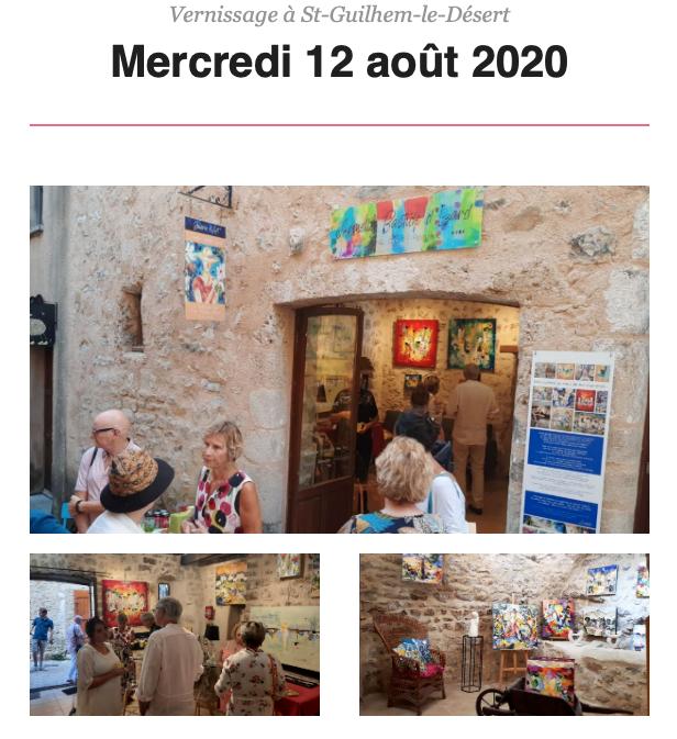 vernissage aoûtien Armelle Bastide d'Isard - Saint-Guilhem le désert