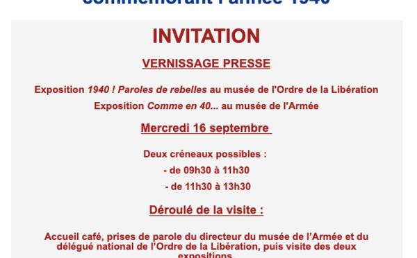 Expositions autour de l'année 1940 au musée de l'Armée et au musée de l'Ordre de la Libération