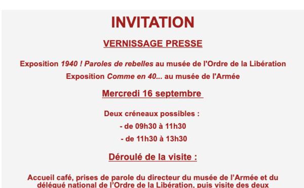 Deux expositions autour de l'année 1940 au musée de l'Armée et au musée de l'Ordre de la Libération